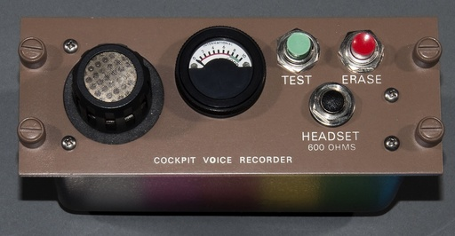 Undated photo shows a cockpit controller for an early 1990s Loral Cockpit Voice Recorder