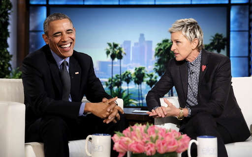 Obama appears on the Ellen DeGeneres Show in Burbank, California