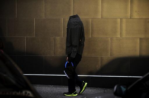 A boy walks during Halloween celebrations in La Fresneda,