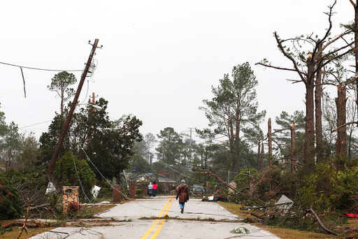 Residents survey damage after a tornado struck a residential area on Sunday in Albany