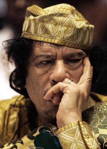 File photograph of Libyan leader Gaddafi in Addis Ababa