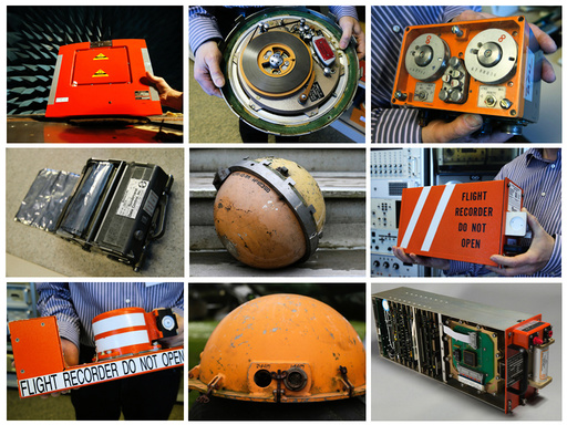 A combination picture showing the development of flight recorders or 'black boxes' since the 1950's.