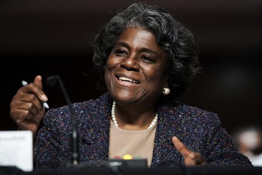 Linda Thomas-Greenfield under høringen i Senatet om utnevnelsen av henne som USAs nye FN-ambassadør. Foto: Greg Nash / Pool via AP / NTB