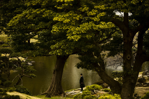 A businessman stands at a pond in the Kyu-Shiba-rikyu Garden on a warm and sunny day in Tokyo