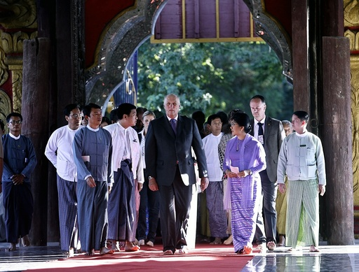 Norwegian King Harald V visits in Mandalay