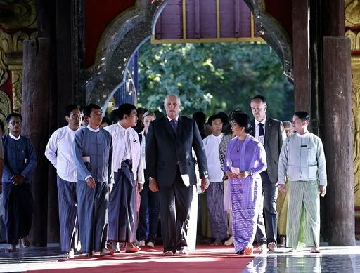 Norwegian King Harald V visits in Mandalay