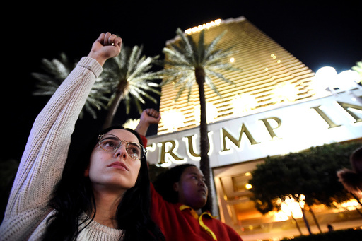 Demonstrators chant in protest against the election of Republican Trump as President of the United States in Las Vegas