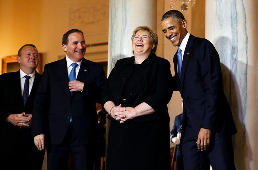 U.S. President Obama laughs with Nordic leaders at the White House in Washington
