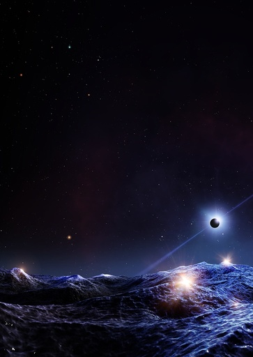 Pulsar seen from orbiting planet, illustration