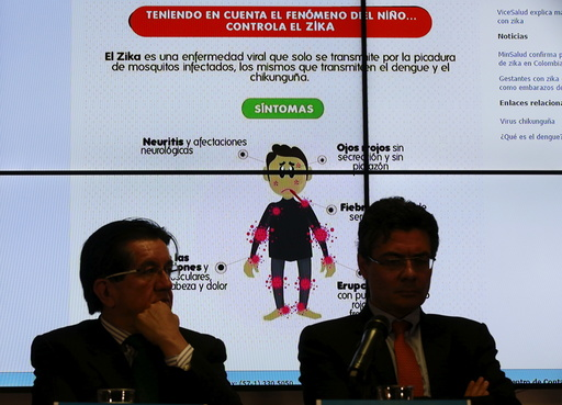 Graph of the symptoms of the Zika virus is seen behind of Colombia's Health Minister Gaviria during a news conference on the Zika virus in Bogota, Colombia