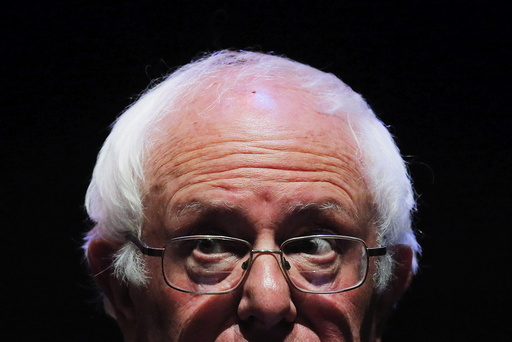 Democratic U.S. presidential candidate Sanders addresses the crowd during a campaign rally in Reading, Pennsylvania