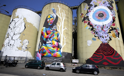 Colourful painted silos called 'Street Art silos' which are part of an art festival are pictured at the harbour of Catania
