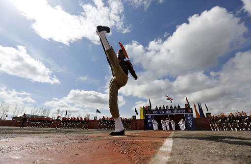 An Indian Border Security Force personnel marches during a passing-out parade in Humhama