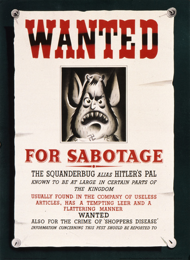 Squander Bug Wanted Poster - World War Two