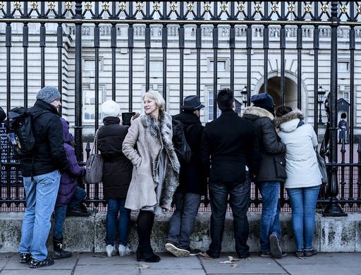 Helen Mirren outside Buckingham Palace in London.