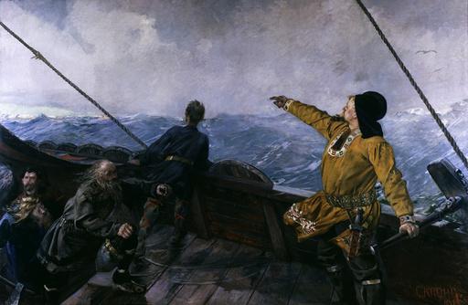 Leif Eriksson entdeckt Amerika / Krohg - Leif Eriksson discovers Amerika / Krohg - Leif Eriksson découvrant l'Amérique / Krohg