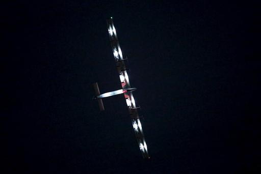 Solar Impulse 2, solar powered plane, circles above Nagoya airport in Japan