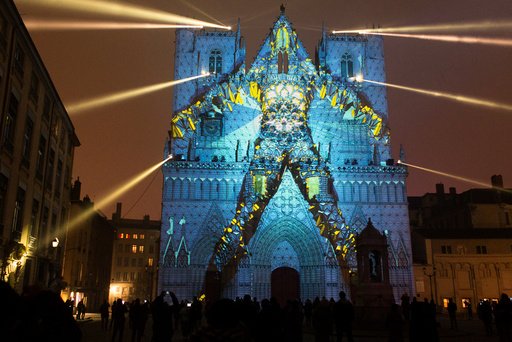 View of Evolutions installation by artist Yann Nguema at the Saint-Jean Cathedral during the rehearsal for the Festival of Lights in Central Lyon