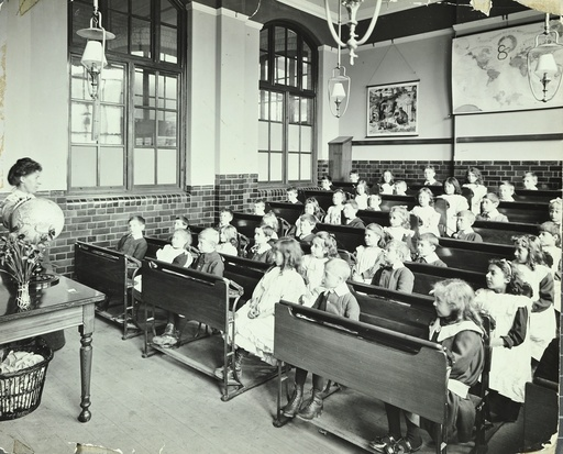 Geography lesson, Denmark Hill School, Dulwich, London, 1905. Artist: Unknown.