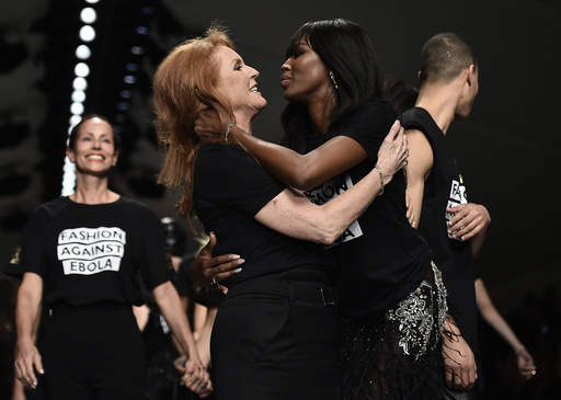 Sarah, Duchess of York, and Campbell embrace during the Fashion for Relief charity catwalk show ahead of London Fashion Week in London