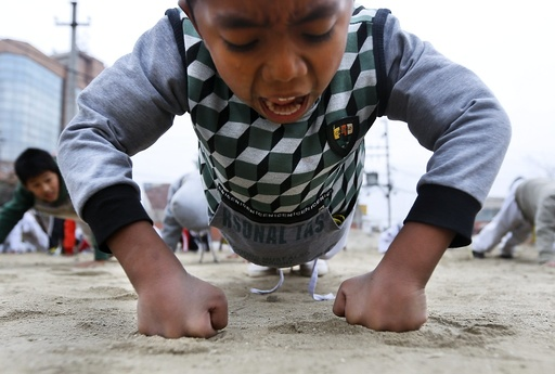 Nepali children attend Takenwondo and Karate class in Kathmandu