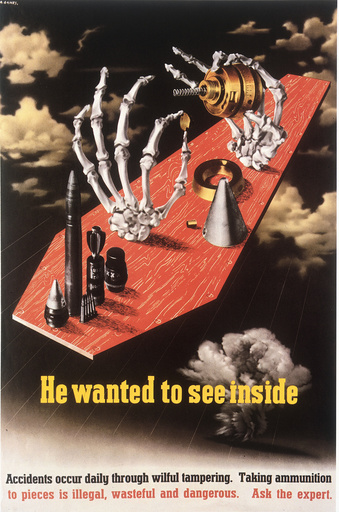 Umgang m. Munition/Warnung/engl. Plakat - Arms safety poster / England / c.1942 -