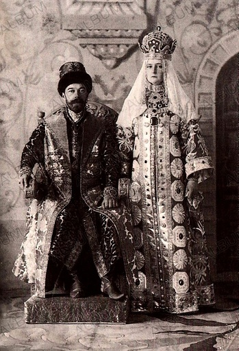 Nicholas II of Russia and Alexandra Fyodorovna in Russian dress.