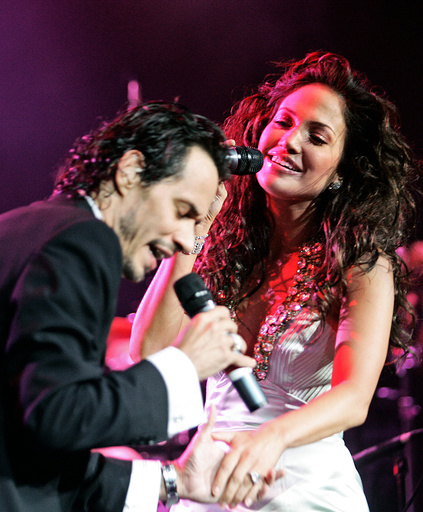 File photo of singers Jennifer Lopez and husband Marc Anthony performing in a concert at the Jose Miguel Agrelot Coliseum in San Juan