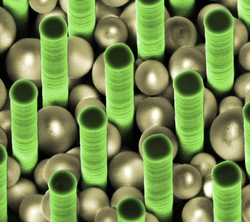 Nanoparticles trapped in pillar array