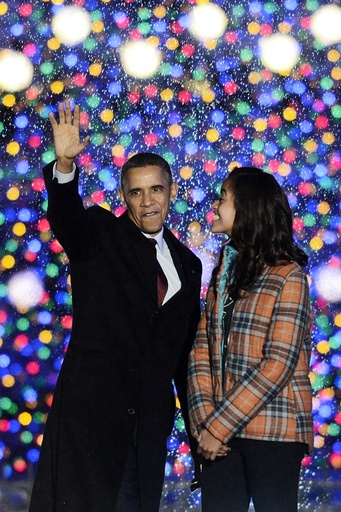 The annual National Christmas Tree lit at the White House