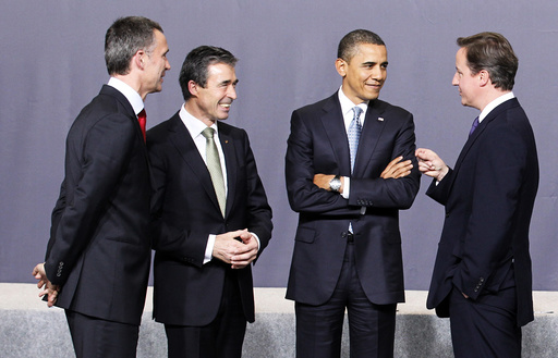 Norway's Prime Minister Stoltenberg, NATO Secretary General Rasmussen, U.S. President Barack and Britain's Prime Minister Cameron talk during the NATO summit in Lisbon
