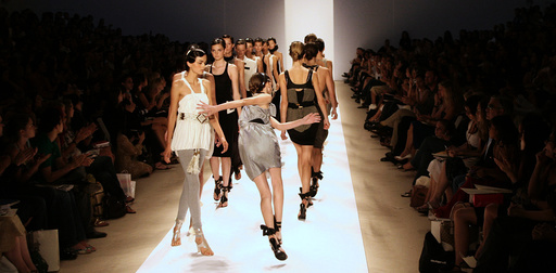 Model trips on runway during Sass & Bide's Spring Collections 2007 fashion show in New York