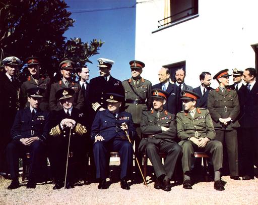 Konferenz v.Casablanca 1943 / Churchill u. brit. Delegation - Casablanca Conference, 1943 / Churchill -