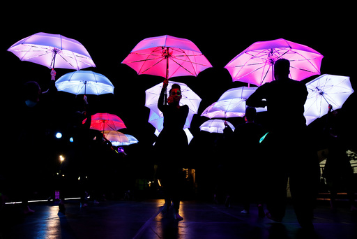 Dancers perform during the Diwali lights switch on in Leicester