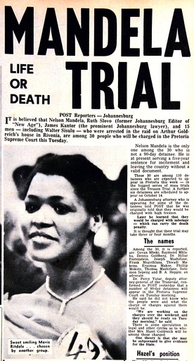 The front page of South Africa's Post newspaper from October 6, 1964 during the Rivonia trial