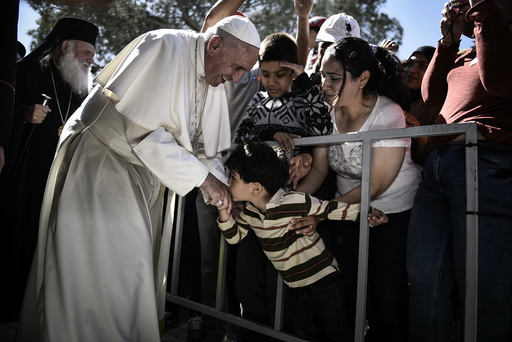 Pope Francis visits Moria migrant camp in Lesbos island, Greece