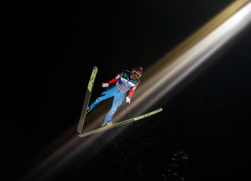 Kraft from Austria soars through the air during the first round for the final jumping of the 63rd four-hills Ski jumping tournament in Bischofshofen