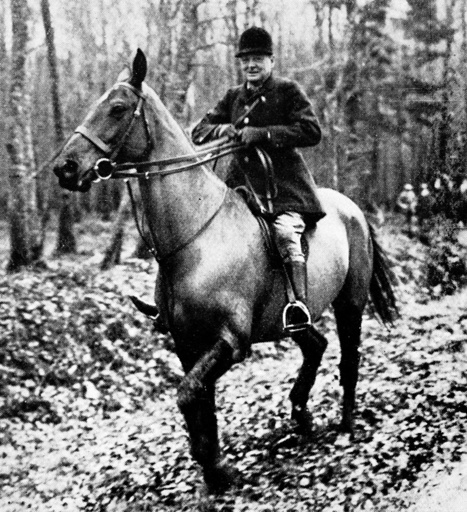 Winston Churchill Hunting Boar, France, 1927.