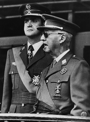 General Franco (1892-1975) with Prince Juan Carlos (b1938), Madrid, Spain, 1973.