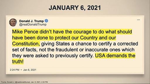 Denne tweeten fra Trump har blitt tatt opp flere ganger under riksrettssaken. Foto: Senate Television via AP / NTB