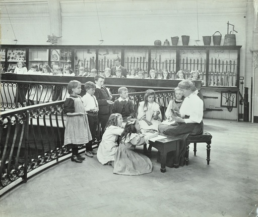 History lesson in the Horniman Museum, London, 1908. Artist: Unknown.