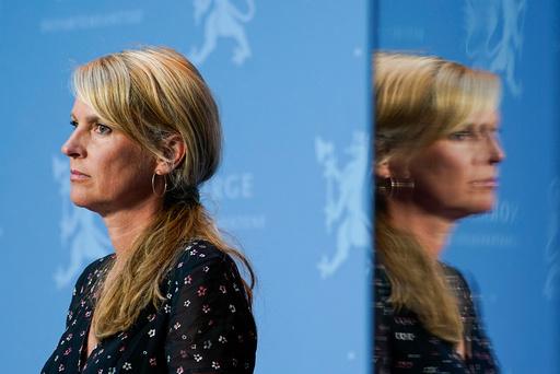 Avdelingsdirektør i Folkehelseinstituttet Line Vold under regjeringens pressekonferanse om koronasituasjonen. Foto: Lise Åserud / NTB scanpix