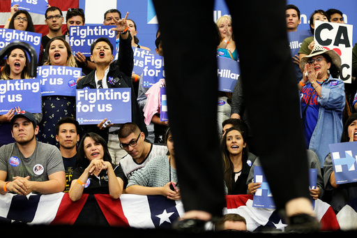 Supporters cheer for U.S. Democratic presidential candidate Hillary Clinton speaks at the University of California Riverside in Riverside