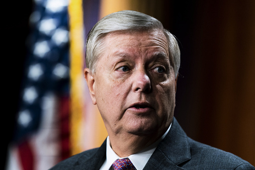 Sen. Lindsey Graham, R-S.C., speaks about the United States-Mexico border during a news conference at the Capitol in Washington, Friday, July 30, 2021. (AP Photo/Manuel Balce Ceneta)
