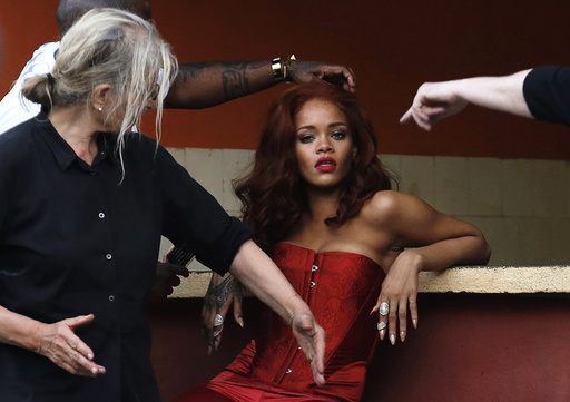 Singer Rihanna prepares for a photoshoot with photographer Annie Leibovitz in Havana