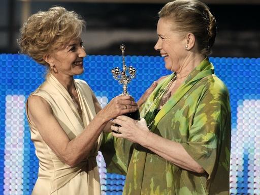 Scandinavian actress Liv Ullmann receives Donostia award from Marisa Paredes during San Sebastian Film Festival