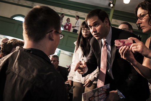 Republican presidential hopeful Sen. Marco Rubio (R-Fla.) at a town hall-style appearance hosted by the Concerned Veterans for America in Exeter.