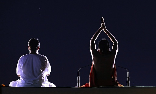 Rehearsals for International Yoga Day in New Delhi