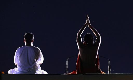 Rehearsals for International Yoga Day in New Delhi