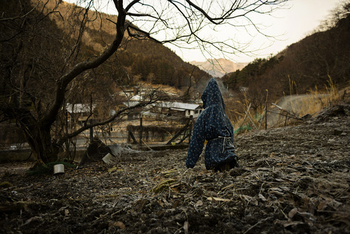 A scarecrow stands in a field overlooking the mountain village of Nagoro